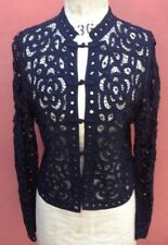 Black gothic frogged lace jacket top by Wealth of Nations, viscose size Small