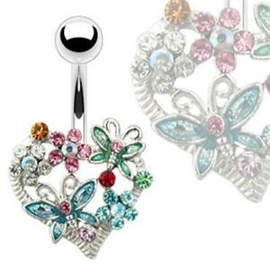 Navel Piercing Heart With Butterflies And Flowers Crystal Colourful Piercing