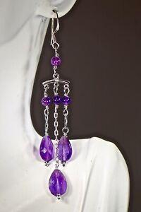 925 Sterling Silver Chandelier Earrings Amethyst Quartz Gems French Wire Rhodium