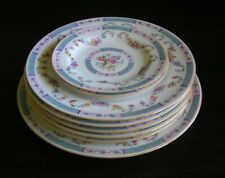 8 Pc. Spode Copeland (Blue) FLORAL SWANGS ~ Dinner, Luncheon, Bread Plates Swags