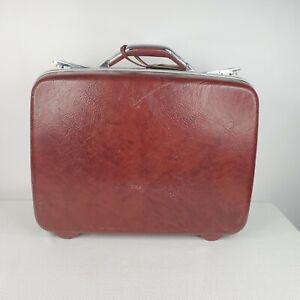 Vintage Samsonite Hardshell Carry On Suitcase Deep Burgundy Red