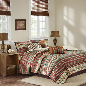 NEW! COZY LODGE LOG CABIN BROWN RED BLUE TEAL RUSTIC WESTERN SOUTHWEST QUILT SET