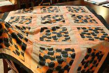 Belinda's Big Kitty and Pumpkin Halloween Handmade Quilt Taupe Luxe Fleece