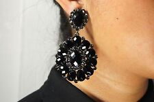 BRAND NEW Black Rhinestone, Drop/Dangle Clip On Earrings Wedding Bridal Party