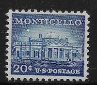 US Scott #1047, Single 1956 Monticello 20c FVF MNH
