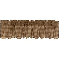 "Cedar Ridge Scalloped Window Valance-Earthtone Plaid-Lined-Rod Pocket-16x72"" VHC"