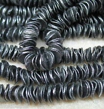 Black Plated Brass 8mm Round Wavy Chip Cornflake 50 Beads Great Spacer Accent
