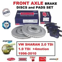 FOR VW SHARAN 2.0 1.9 TDi +4motion 1996-2010 FRONT AXLE BRAKE PADS + DISCS 300mm