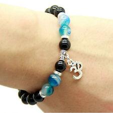 Mens Black Agate Buddha Beaded Bracelet Lucky Yoga Energy Wrist Mala OM Bracelet