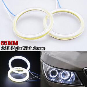 2Pcs 65mm Universal White LED COB Angel Eyes Fog Lamp Halo Ring Head Light