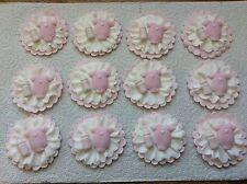 12 sugarpaste cupcake topper baby romper bottle christening /baby shower pink
