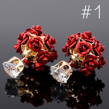 2017 1 Pair Women Jewelry Elegant Rose Flower Crystal Rhinestone Stud Earrings