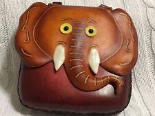 "HAND MADE EMBOSSED GENUINE LEATHER ELEPHANT CROSS BODY PURSE/BAG (6.0"" X  6.0"")"
