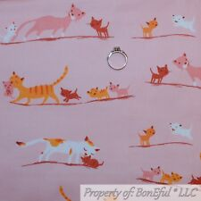 BonEful FABRIC FQ Cotton DECOR Quilt Pink White Little Kitty Cat Mom Baby Orange