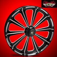 "Harley Davidson 21"" inch Black Contrast Wheel & Matching Rotors ""Redemption"""