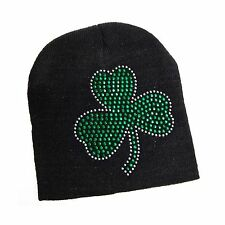 St. Patricks Day Black Knit Beanie Hat with Green Rhinestone Sh... Free Shipping