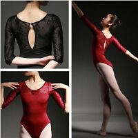 Brand New Womens Black 3/4 Sleeve Floral Ballet Trainning Leotard Costume
