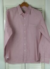 Men's J. Crew Large Shirt 2-Ply Cotton Red White Pinstripes Long Sleeve Button