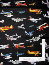 Fly Plane Airplane Aircraft Flying Toss Black Cotton Fabric QT Aviator - Yard