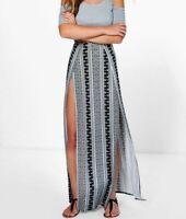 BOOHOO PLUS Black Scuba Scallop Split Midi Skirt fj189