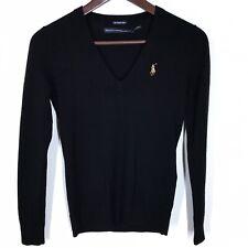 Ralph Lauren Sport Black Merino Wool V Neck Sweater Size XS NWOT