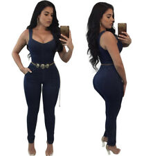 Womens sleeveless bodycon jeans denim club party casual slim jumpsuit playsuit