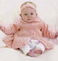 "Pretty Flared Ribbed Baby Jacket with Collar 14"" -  20"" Knitting Pattern 4 ply"