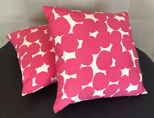 Throw Pillow Tropical Summer Indoor Outdoor Patio Accent Pink White down Lot 2