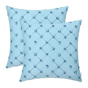 2Pcs Light Blue Cushion Covers Pillows Shell Geometric Chain Embroidered 45x45cm