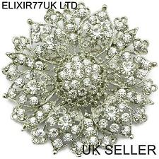 "2.4"" grandes Plata Flor Diamante Cristal Pin Broche Boda Arte Vintage Broche"