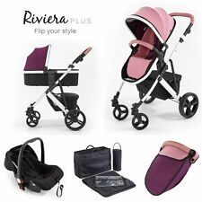 Tutti Bambini Riviera plus 3 in 1 white travel system & car seat dusty pink plum
