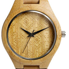 Tan Real Wooden Watch Gift Unique Hand Crafted Mens Watch Leather hypoallergic