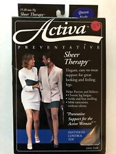 Activa Sheer Therapy 15-20 mmHg Compression Pantyhose Control Top Queen Nude
