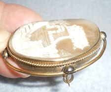 Antique Carved Shell Cameo Brooch Pin Landscape Tree House Women Gold Plated 2""