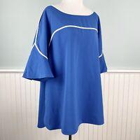 SIZE 2X Alfani Blue White Piping High Low Hem Tunic Top Shirt Women's Plus NWT