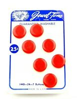 Jewel-Tone Washable Buttons 1440-24-7 Made in USA Red Vintage Retro On Card