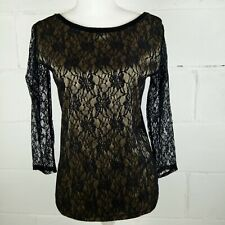 August Silk Lace Overlay Women Size M Black and Gold