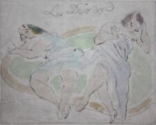 JULES PASCIN-French Modernist-Hand Colored Estate Stamped Etching-Female Nudes
