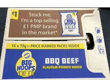 Full Box of Hula Hoops Big Hoops BBQ Beef Flavour Potato Rings Share Bag x 16