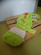 Grand doudou plat crocodile marionnette vert lilliputiens etat neuf