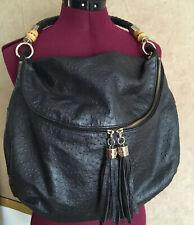 Elaine Turner STACY Black OSTRICH Leather LARGE Slouchy Hobo Purse/Shoulder Bag
