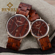 Bewell Ladies Wood Watch Simple Dial Quartz  Couples Wooden Watch for Men/Women