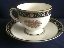 Wedgwood Runnymede navy tea cup & saucer (tiny chip to cup rim paint)