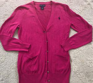 RALPH LAUREN POLO sport Girls pink boyfriend pocket cardigan sweater 12-14