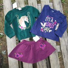 18 24M Gymboree Plum Pony Sweater Skirt Top Horse Equestrian Woodland Quilted
