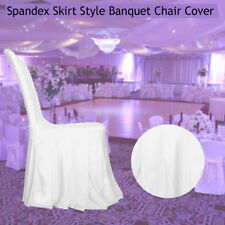 White Spandex Chair Cover Ruffled Skirt Pleated Slipcover Hotel Home Party Decor