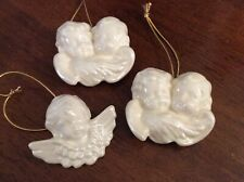 3 Ceramic Iridescent Pearl Cherubs Angel Christmas Ornaments