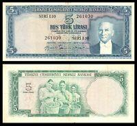 Turkey, 5 Lira, 1930 (1959), FINE+ / *, P-155, ATATURK