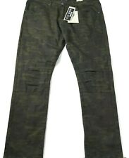 Encrypted Jeans Mens Size 44X34 Green Camo Stretch Skinny Fit Moto New