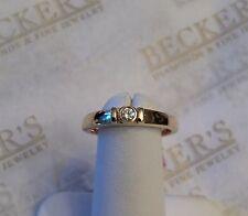 14k yg Single Round Bezel Set Diamond Band Ring .07 ct J-VS2 Double Bar Accents
